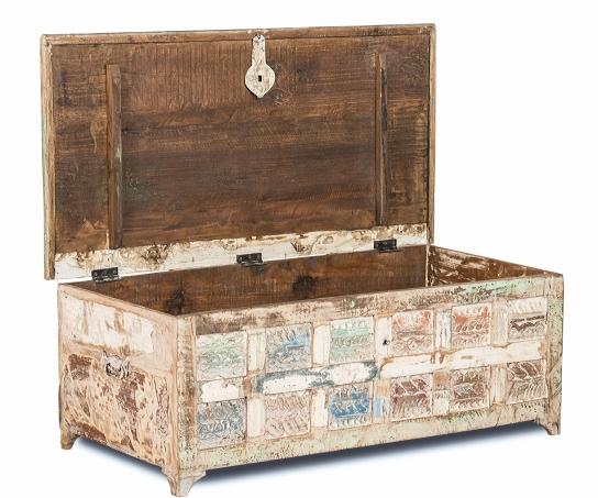Shabby Chic Couchtischtruhe 120x45x60cm Massiv Couchtische Möbel